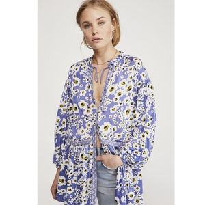 Free People Love Letter Tunic Blue Floral Large